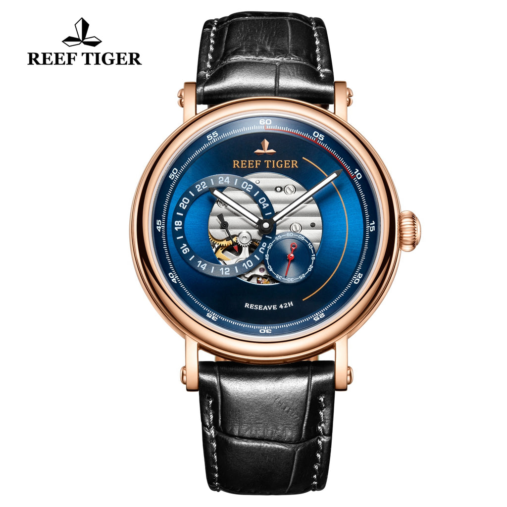 Reef Tiger Seattle Reserve Fashion Men Rose Gold Blue Dial Leather Strap Automatic Watches RGA1617