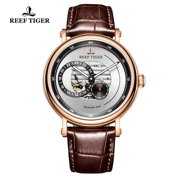 Reef Tiger Seattle Reserve Fashion Men Rose Gold White Dial Leather Strap Automatic Watches RGA1617