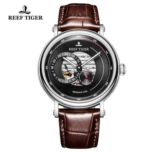 Reef Tiger Seattle Reserve Fashion Steel Men Black Dial Leather Strap Automatic Watches RGA1617