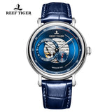 Reef Tiger Seattle Reserve Fashion Men Steel Blue Dial Leather Strap Automatic Watches RGA1617