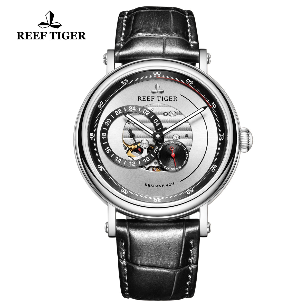Reef Tiger Seattle Reserve Fashion Men Steel White Dial Leather Strap Automatic Watches RGA1617