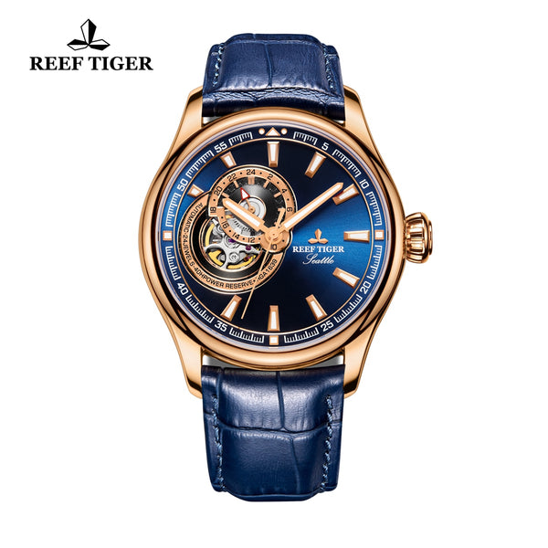 Reef Tiger Luxury Skeleton Watch with Tourbillon Analog Automatic Watches RGA1639-PLL