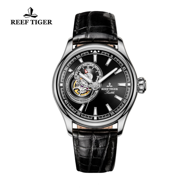 Reef Tiger Men's Casual Genuine Leather Strap Skeleton RGA1639-YBB