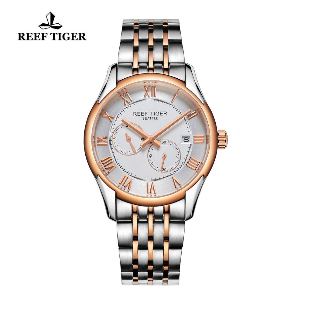 Reef Tiger Business Date Four Hands Rose Gold Steel White Dial Watch RGA165