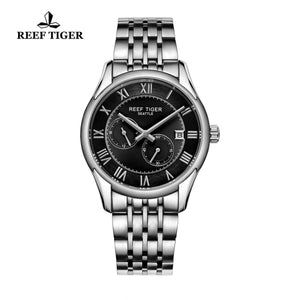 Reef Tiger Business Date Four Hands Steel Black Dial Watch RGA165
