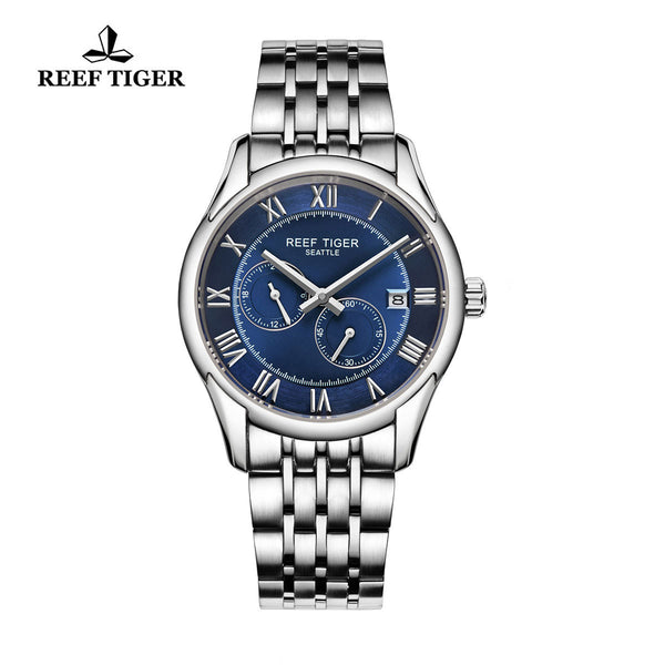 Reef Tiger Business Date Four Hands Steel Blue Dial Watch RGA165