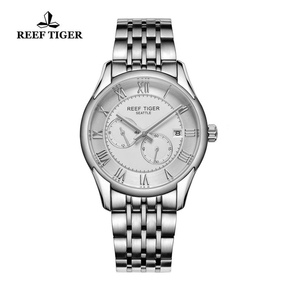 Reef Tiger Business Date Four Hands Steel White Dial Watch RGA165
