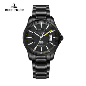 Reef Tiger Sport Luminous Big Date Yellow Hands Black Steel Mens Watches RGA166