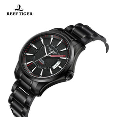 Reef Tiger Sport Luminous Big Date Red Hands Black Steel Mens Watches RGA166