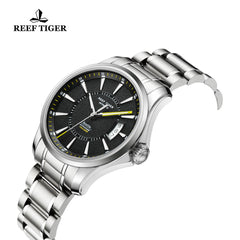 Reef Tiger Sport Luminous Big Date Yellow Hands Steel Mens Watches RGA166