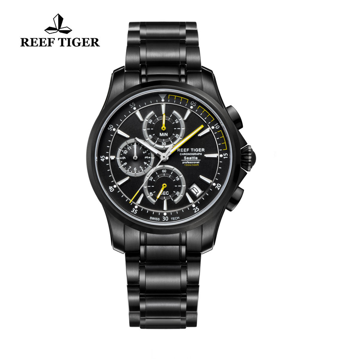 Reef Tiger Chronograph Date Black Steel Yellow Hands Quartz Watches RGA1663