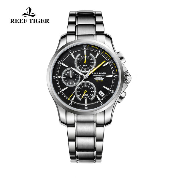Reef Tiger Chronograph Date Steel Yellow Hands Quartz Watches RGA1663