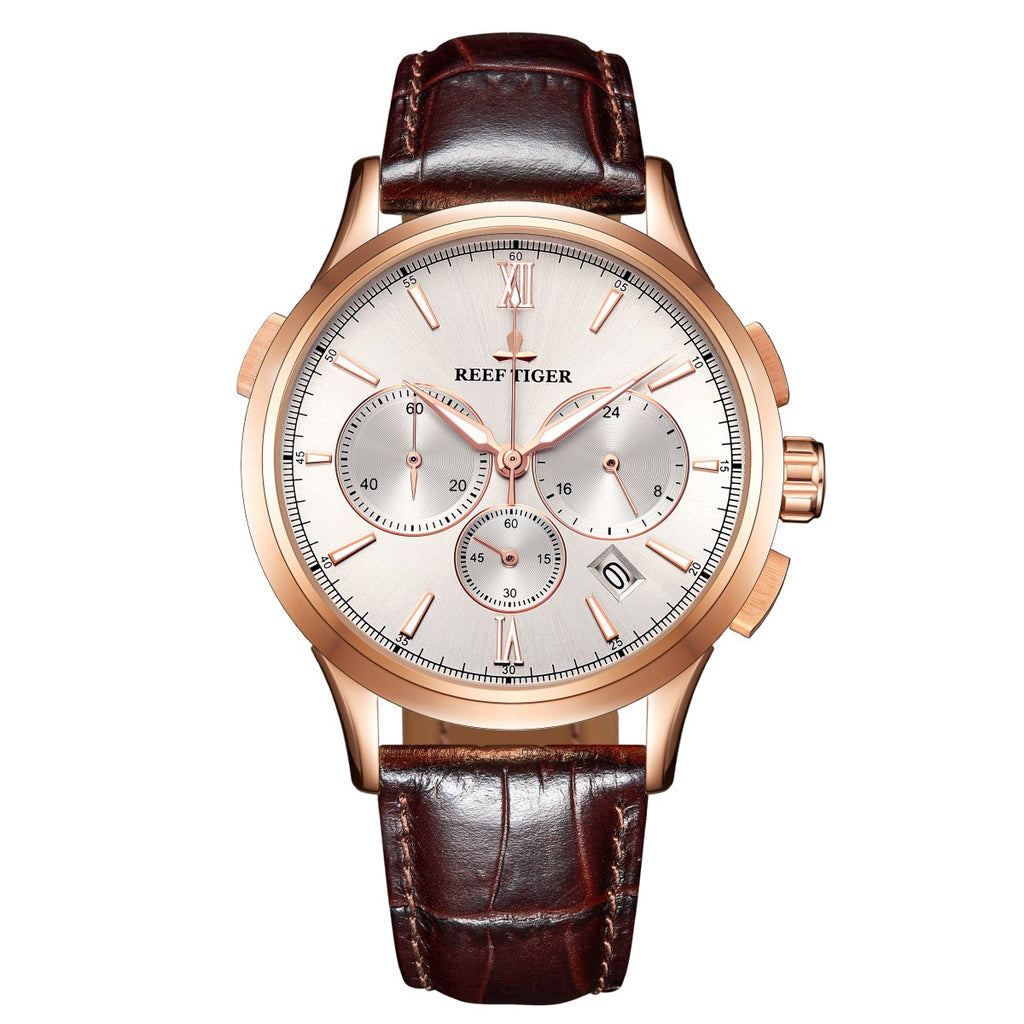 Reef Tiger Luxury Mens Casual Watch Watch Chronograph Quartz Rose Gold Leather Strap Watch RGA1669