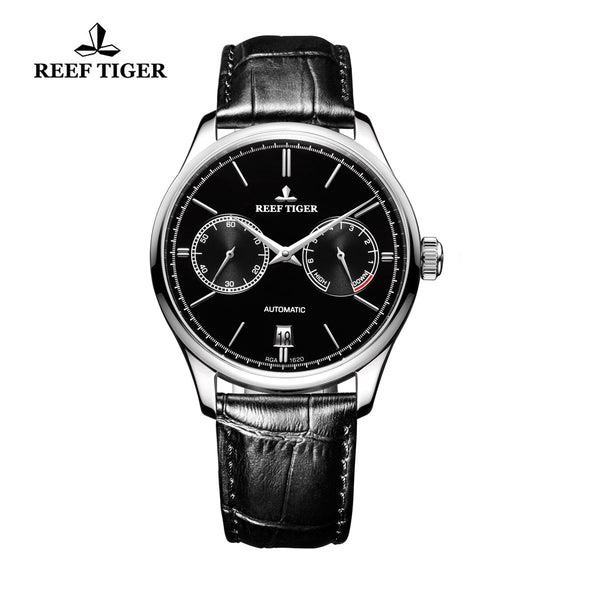 Reef Tiger Mens Casual Steel Black Dial Watch with Power Reserve Date RGA1620