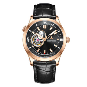 Reef Tiger Automatic Rose Gold Watch Leather Strap Tourbillon Wrist Watches RGA1693-2