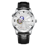 Reef Tiger Automatic Steel Watch Leather Strap Tourbillon Wrist Watches RGA1693-2