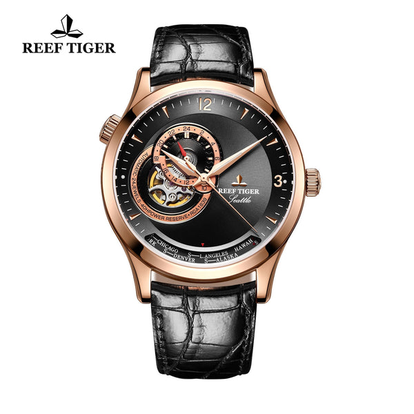 Reef Tiger Luxury Skeleton Watch with Tourbillon Analog Automatic Watches RGA1693