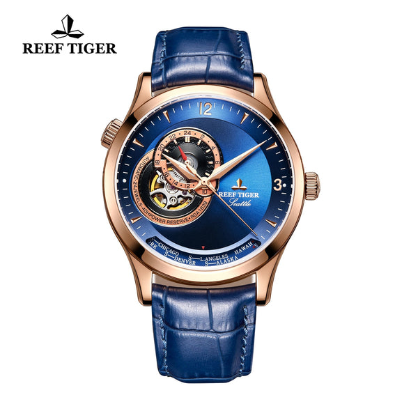 Reef Tiger Men's Luxury Watch with Tourbillon Blue Leather Automatic Watches RGA1693