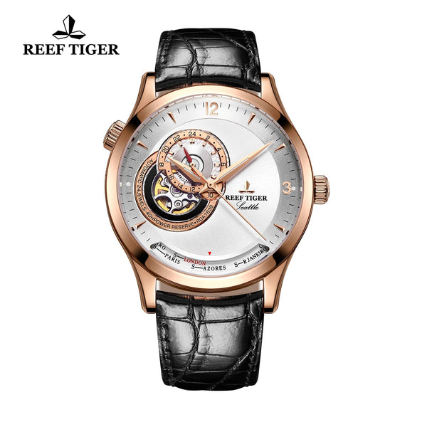 Reef Tiger Men's Luxury Watch White Dial Black Leather Automatic Watches RGA1693
