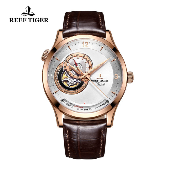 Reef Tiger Luxury Men's Watch With Tourbillon White Dial Automatic Watches RGA1693