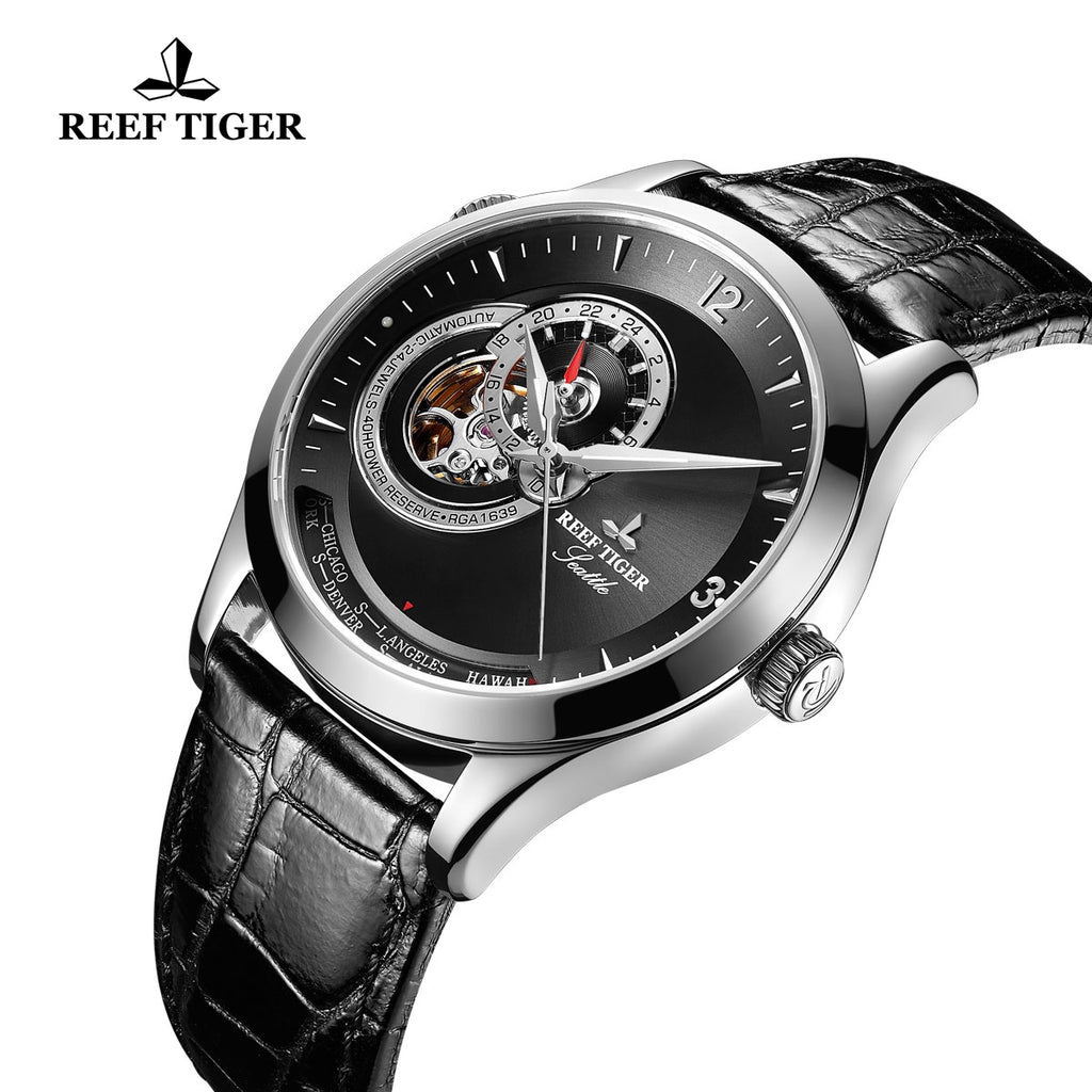 Reef Tiger Fashion Men's Watch With Tourbillon Black Dial Automatic Watches RGA1693