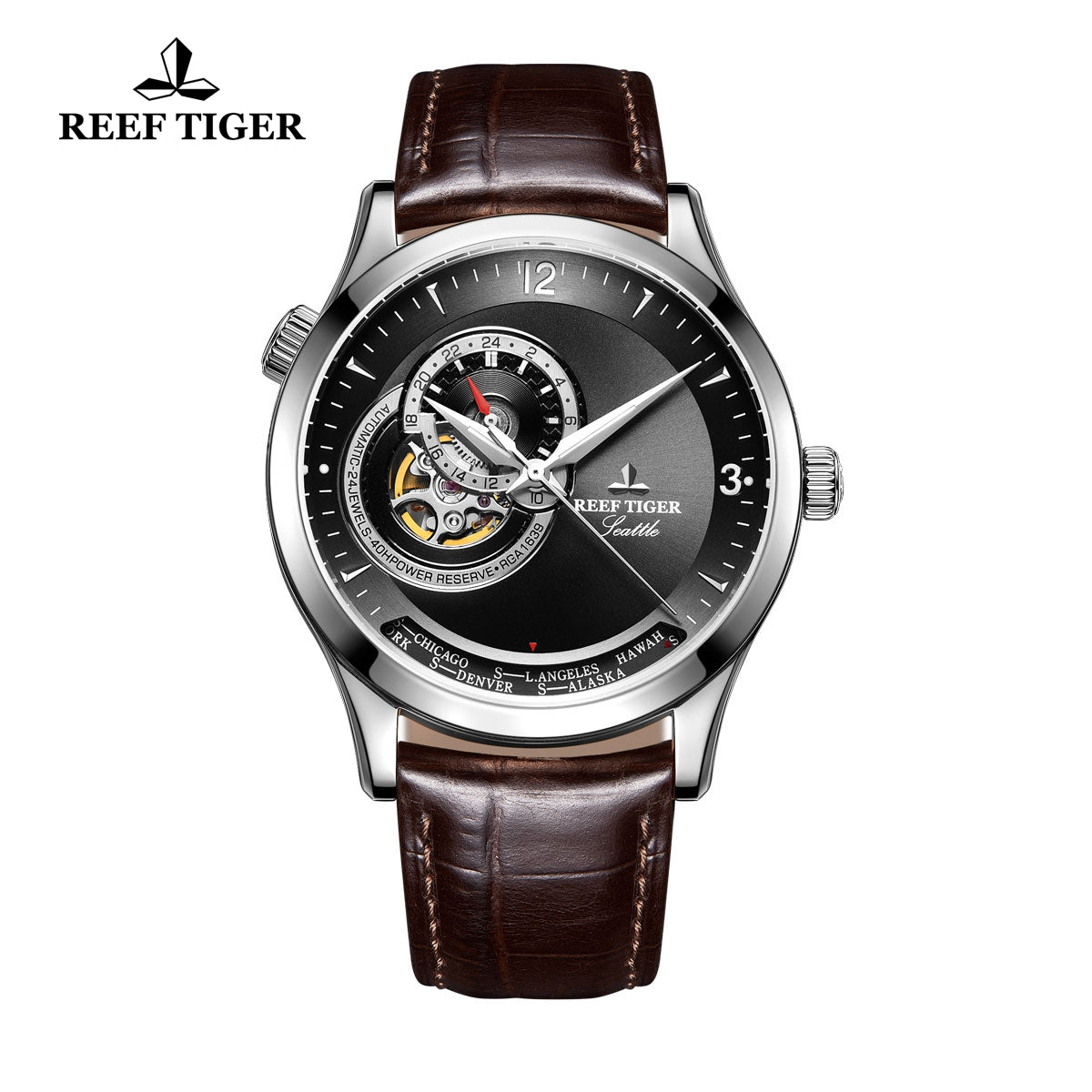 Reef Tiger Men's Fashion Watch With Tourbillon Brown Leather Automatic Watches RGA1693