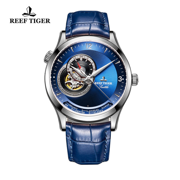 Reef Tiger Men's Fashion Watch Blue Dial With Tourbillon Automatic Watches RGA1693