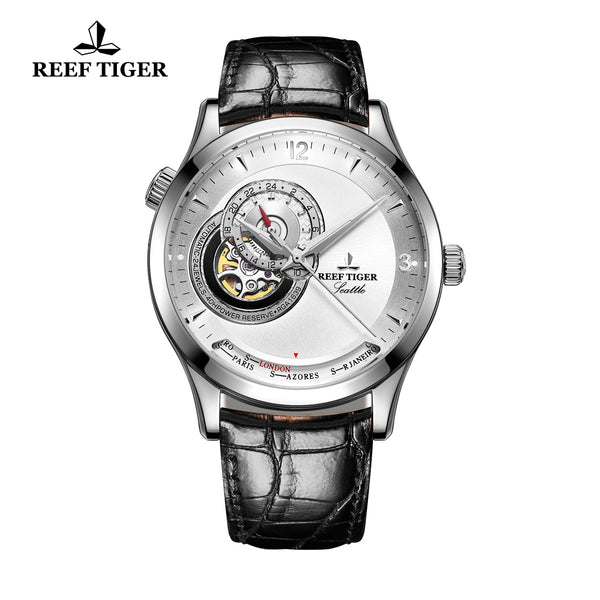 Reef Tiger Fashion Watch Men's White Dial With Tourbillon Automatic Watches RGA1693