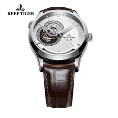 Reef Tiger Fashion Men's Watch  Brown Leather With Tourbillon Automatic Watches RGA1693