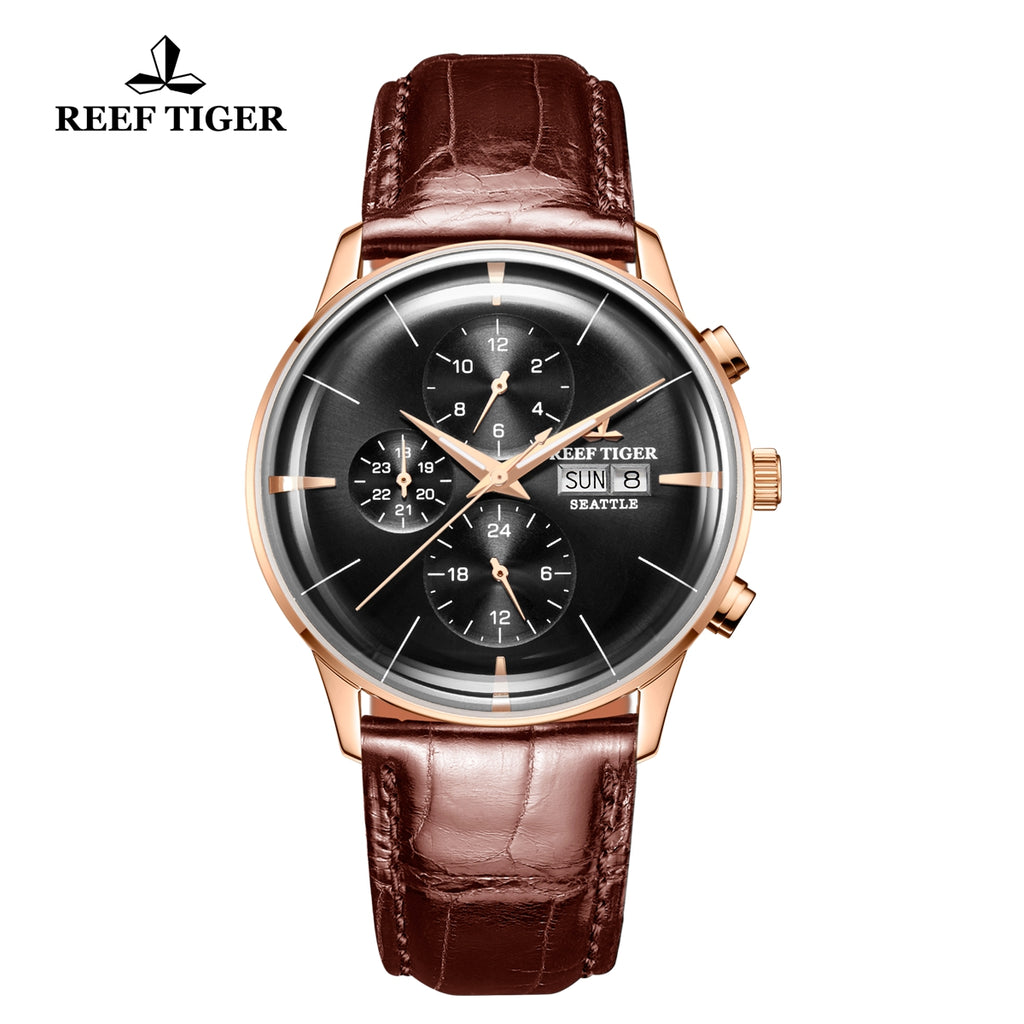 Reef Tiger Seattle Chief Fashion Men Rose Gold Genuine Leather Strap Automatic Watches RGA1699-PBB