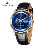 Reef Tiger Seattle Chief Fashion Men Rose Gold Genuine Leather Strap Automatic Watches RGA1699-PLB
