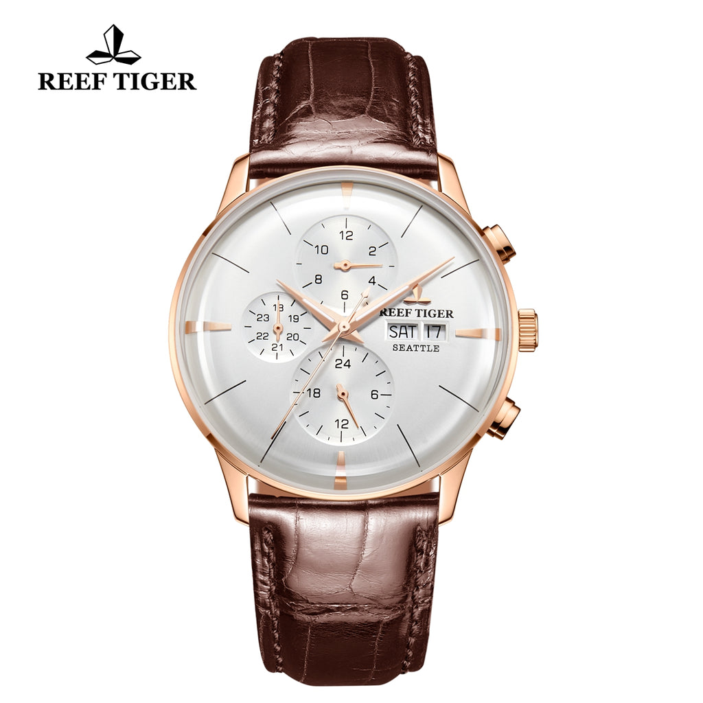 Reef Tiger Seattle Chief Fashion Men Rose Gold Genuine Leather Strap Automatic Watches RGA1699-PWS