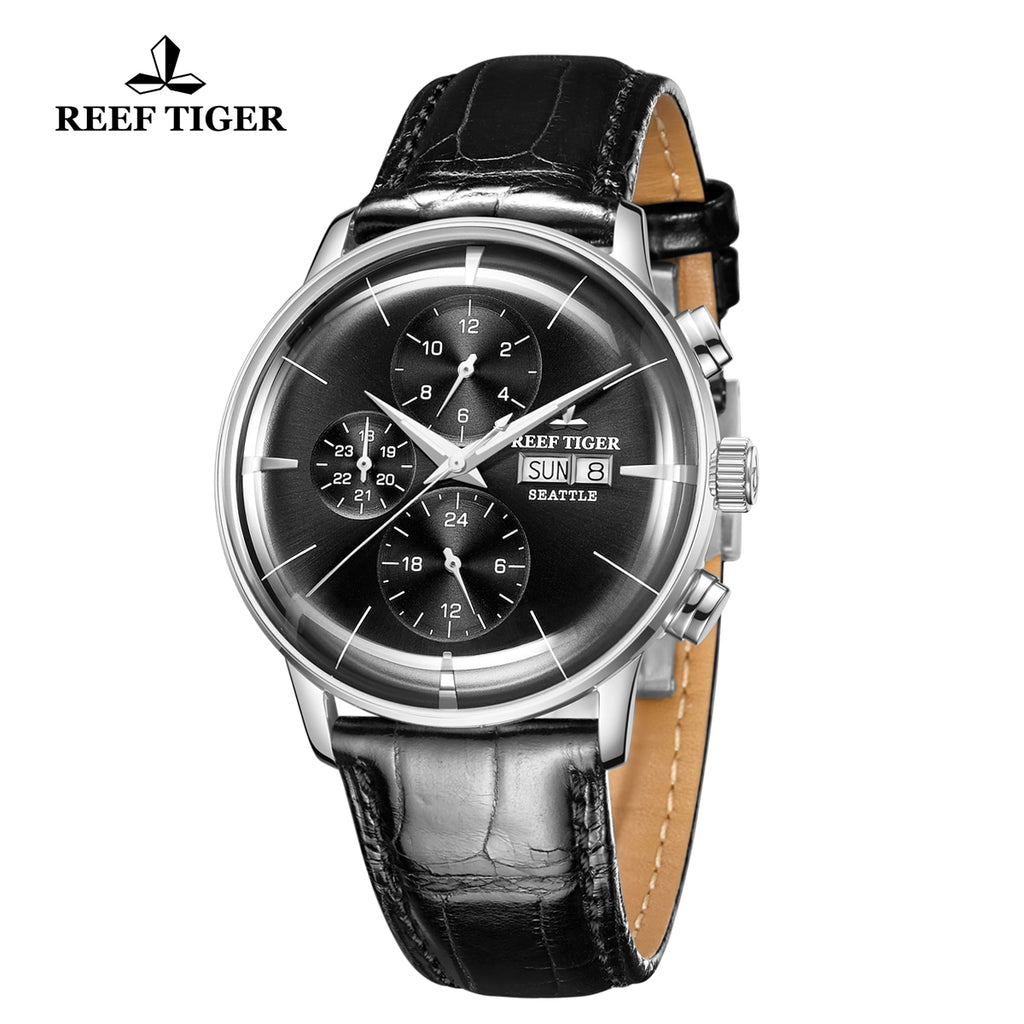 Reef Tiger Seattle Chief Fashion Men Steel Genuine Leather Strap Automatic Watches RGA1699-YBB