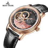Reef Tiger Seattle Singapore Men Rose Gold Genuine Leather Strap Automatic Watches RGA1739-PBB