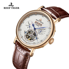 Reef Tiger Artist Limner Men Fashion Rose Gold White Dial Leather Strap Automatic Watches RGA1903