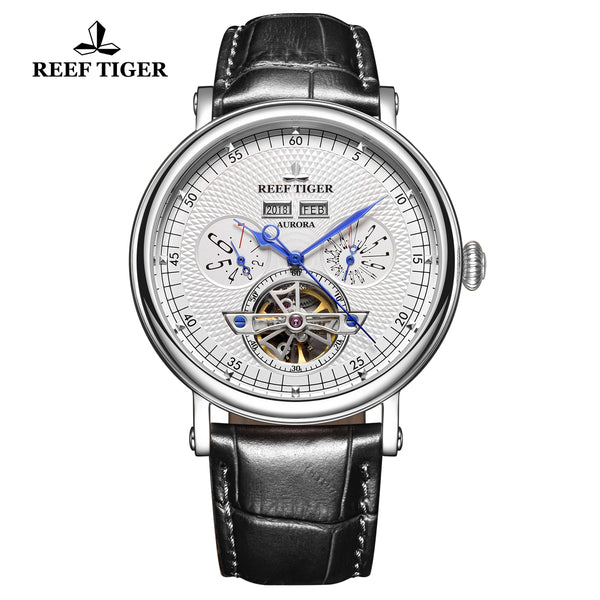 Reef Tiger Artist Limner Men Fashion Steel White Dial Leather Strap Automatic Watches RGA1903