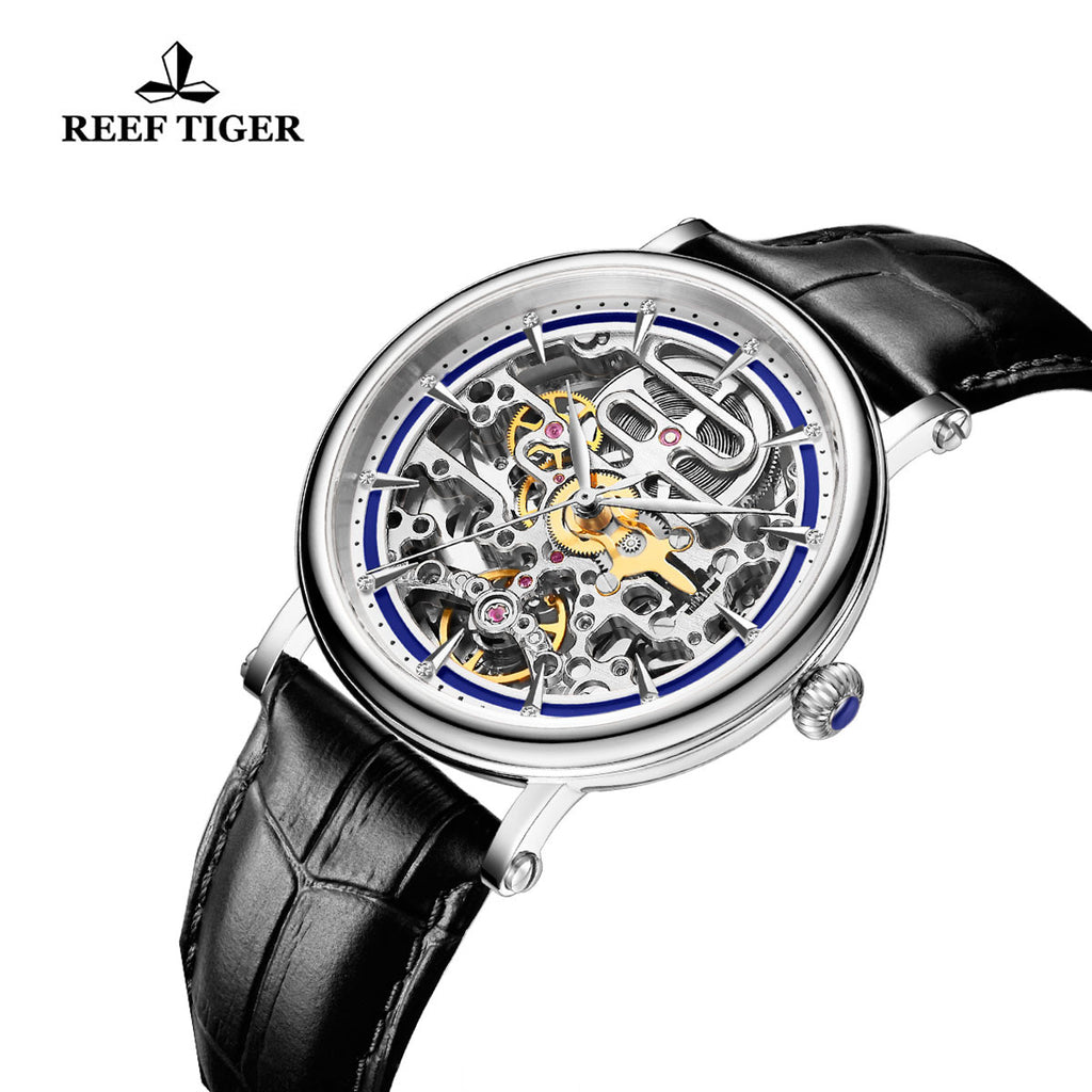 Reef Tiger Casual Watch with Skeleton Dial Steel Case Leather Strap Blue Inner Bezel RGA1917