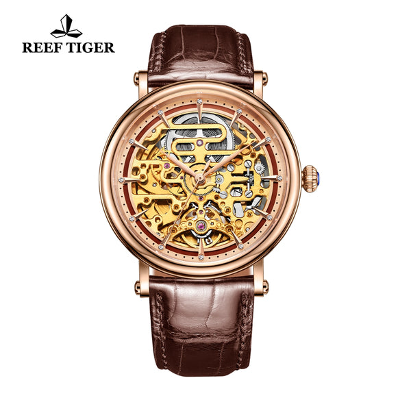Reef Tiger Casual Watch with Skeleton Dial Rose Gold Case Leather Strap RGA1917