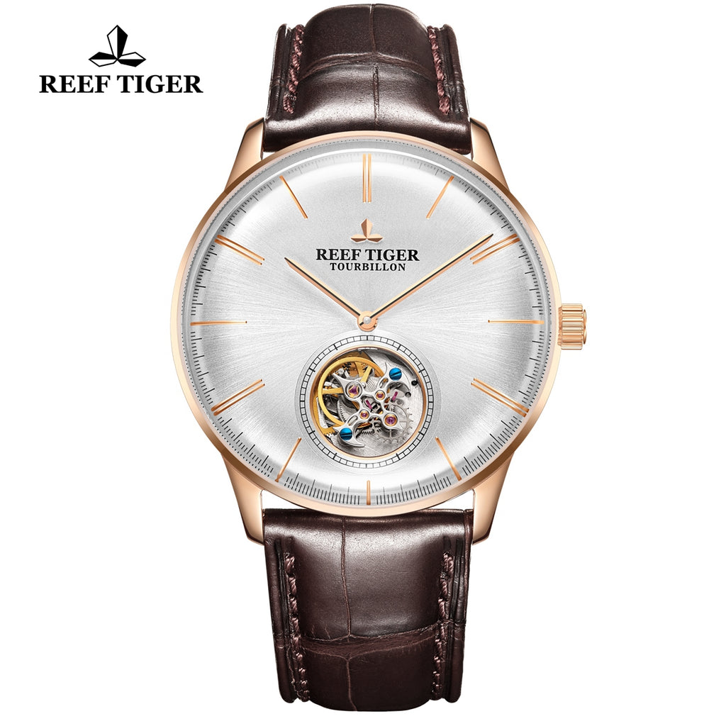 Reef Tiger Seattle Tourbillon Men Rose Gold Leather Strap Automatic Watches RGA1930-PWS