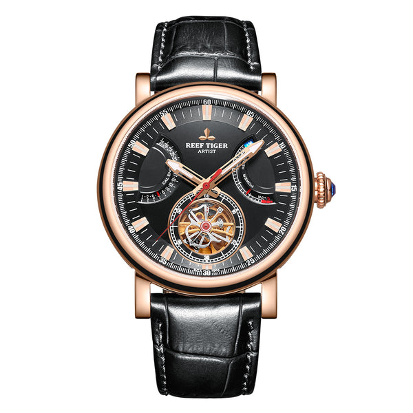 Reef Tiger  Photographer Artist Casual Men Rose Gold Black Dial Automatic Watches RGA1950-PBB