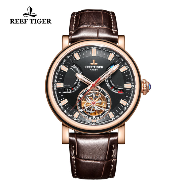 Reef Tiger  Photographer Artist Casual Men Black Dial Rose Gold  Automatic Watches RGA1950-PBW