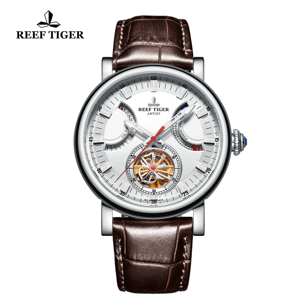 Reef Tiger Artist Casual Men White Dial Stainless Steel  Automatic Watches RGA1950