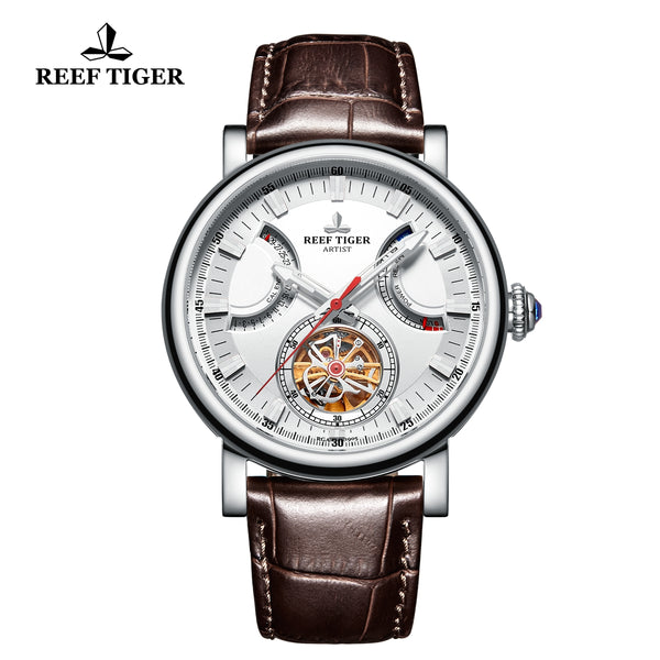 Reef Tiger Photographer Artist Casual Men White Dial Stainless Steel  Automatic Watches RGA1950-YWW
