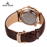 Reef Tiger Mens World Time Rose Gold Black Dial Automatic Watch with Date Day RGA1951
