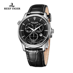 Reef Tiger Mens World Time Steel Black Dial Automatic Watch with Date Day RGA1951