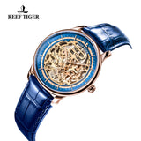 Reef Tiger Designer Mens Blue Skeleton Leather Strap Rose Gold Watch RGA1975