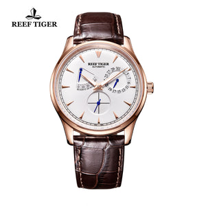 Reef Tiger Rose Gold White Dial Automatic Watch with Calendar RGA1980