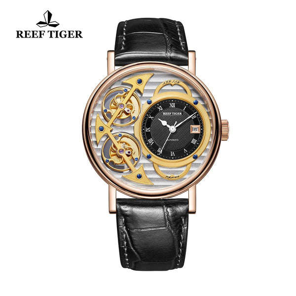 Reef Tiger Artist Magician Mens Rose Gold Skeleton Leather Strap Automatic Watches RGA1995-PSBB