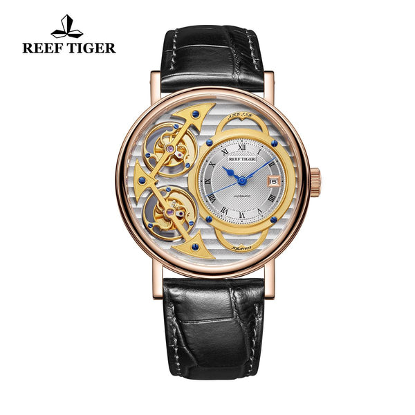 Reef Tiger Artist Magician Mens Rose Gold Skeleton Dial Leather Strap Automatic Watch RGA1995-PSBS