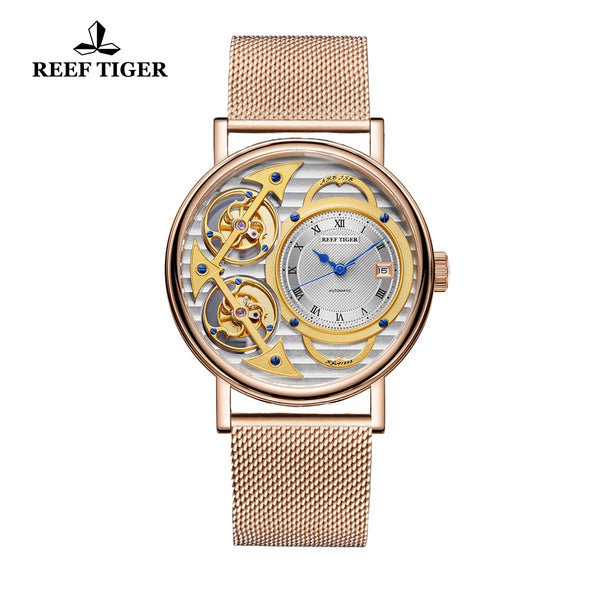 Reef Tiger Artist Magician Luxury Men's Rose Gold Watches Skeleton Dial Automatic Watch RGA1995-PSPS